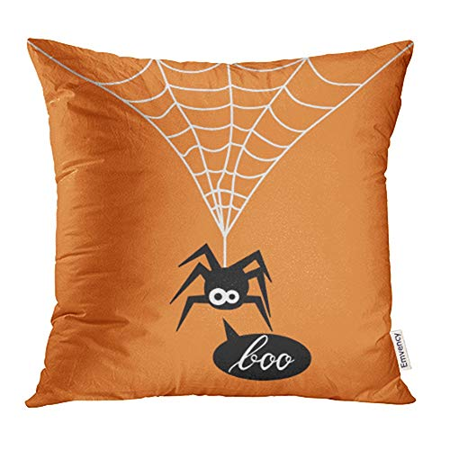 Emvency Decorative Throw Pillow Case Cushion Cover Animal Cute Spider on Orange of for The Halloween Party Say Boo Arachnid Black 20x20 Inch Cases Square Pillowcases Covers Two Sides Print