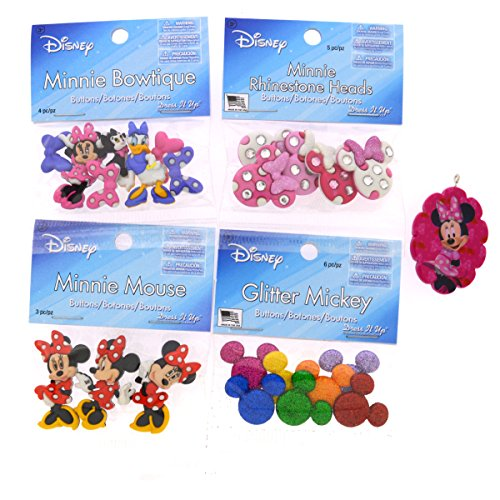 Dress It Up Disney Minnie Mouse Button Embellishment Assortment - 4 Pack - Includes Free Minnie Mouse Pendant (Disney Sewing Buttons compare prices)