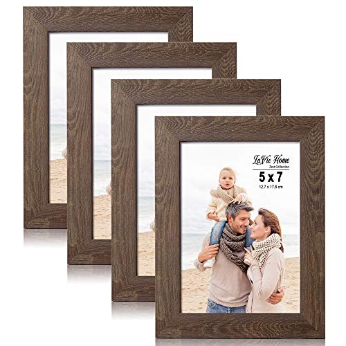 LaVie Home 5x7 Picture Frames(4 Pack,Dark Brown) Wood Texture Photo Frame with High Definition Glass for Wall Mount & Table Top Display, Set of 4 Zest Collection (Browns Picture Frame)