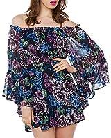 Purpura Erizo Womens Off-Shoulder Batwing Allover Dress