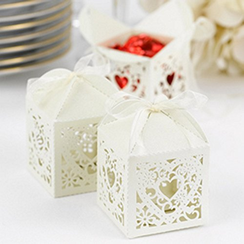 Ivory Shimmer Favor Boxes With Ornate Heart Design - Package of 200