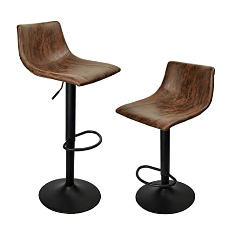 Swell Praisun Bar Stools Set Of 2 Swivel Counter Chairs With Back Height Adjustable Barstool For Kitchen Vintage Fabric Larger Base 16 34 Inch Brown Uwap Interior Chair Design Uwaporg