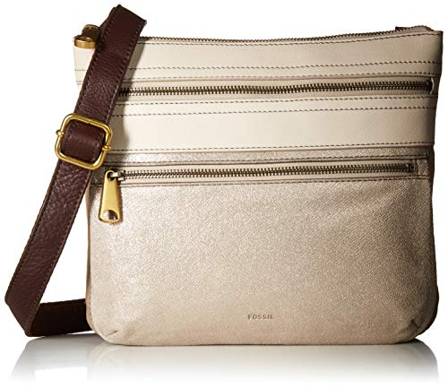 (Fossil Explorer Leather Crossbody Bag, neutral multi)