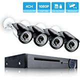 Security Camera System 1080P 4 Channel NVR with 4 IP PoE Security Cameras Outdoor Video Surveillance System with Night Vision NO HDD