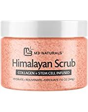 M3 Naturals Himalayan Salt Scrub Infused With Collagen And Stem Cell Natural Exfoliating Body And Face Souffle For Acne Cellulite Dead Skin Scars Wrinkles Cleansing Exfoliator 12 oz