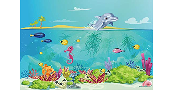 Mermaid 6x8 FT Photography Backdrop Balloon Fish Hearts Pattern Sea Oceanic Objects Sketch Art Kids Theme Background for Photography Kids Adult Photo Booth Video Shoot Vinyl Studio Props