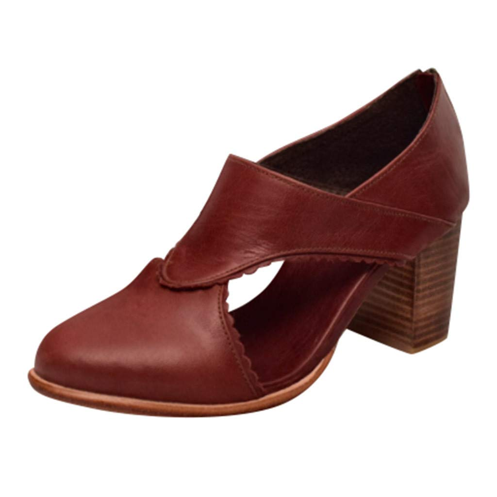 ✔ Hypothesis_X ☎ Women's Casual Slip On Loafer Pointed Toe Cut Out Slip On Office Casual Square Heels Zipper Sandals Red by ✔ Hypothesis_X ☎ Shoes