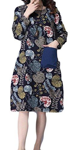 Comfy Dress Pockets Evening Vogue Tribal Size Women Blue Plus Party Floral qqS46TAU