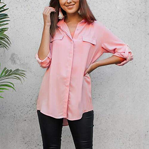 Donne Moda Donna Manica Eleganti Shirt Risvolto Camicetta Maglietta Camicia Accogliente Solido Pink Top Casual Pulsante T Bello sciolto Camicia lunga Ningsun Sexy qEnwX0dI0