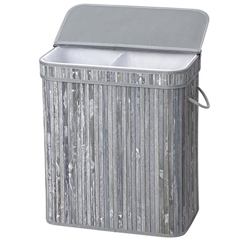 (SONGMICS Divided Bamboo Laundry Basket Double Hamper with Lid Handles and Removable Liner Two-Section Dirty Clothes Bin Box Storage Sorter Rectangular Distressed 100L Gray ULCB64GW)