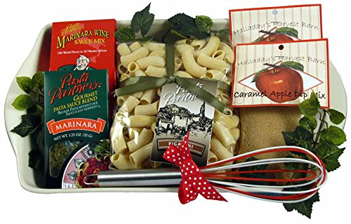 Gift Basket Village - Dinner and Dessert Gift Basket For An Amazing Woman with Decorative Ceramic Baking Dish ()