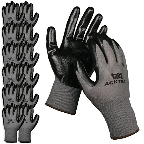 ACKTRA Nitrile Coated Nylon Safety Work Gloves 12 Pairs, Knit Wrist Cuff, Multipurpose, for Men & Women, WG003 Grey Polyester, Black Nitrile, Medium