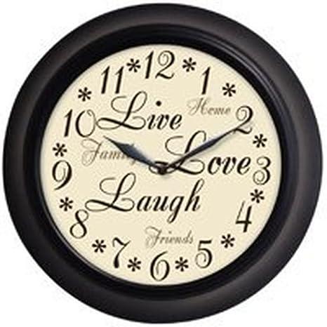 Live Love Laugh Round Quartz Wall Clock Bezel Color Sale