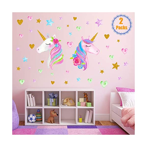 2 Sheets Large Size Unicorn Wall Decor,Removable Unicorn Wall Decals Stickers Decor for Gilrs Kids Bedroom Nursery… 3
