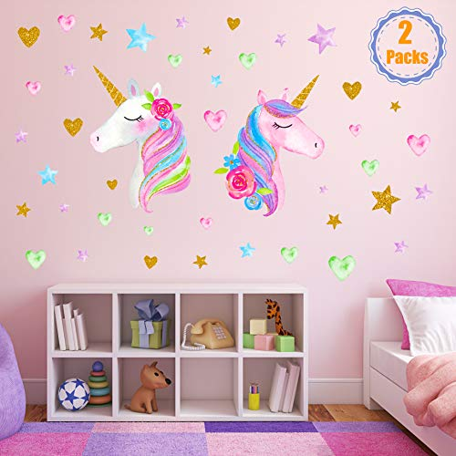 2 Sheets Large Size Unicorn Wall Decor,Removable Unicorn Wall Decals Stickers Decor for Gilrs Kids Bedroom Nursery Birthday Party FavorNeasyth Store 9.99 $ (2 PCS)