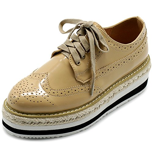 Ollio Womens Shoe Classic Wing Tip Lace up Platforms Mid Heels Oxfords LUV1 (10 B(M) US, ()