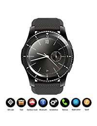 Abedoe G8 Smart Watch Phone | Fitness Tracker,Bluetooth 4.0 Call Message Push SIM Card Sports Sleep Tracker Heart Rate Monitor Remote Camera for All Android and iOS Phone with Black + Red Band