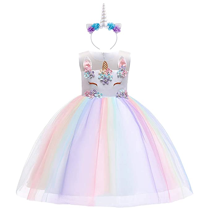 presentando design moderno bambino OBEEII Unicorno Costume Carnevale Bambina Abito Principessa Vestito da  Ragazza Festa Halloween Natale Cerimonia Abiti Partito 2-12 Anni