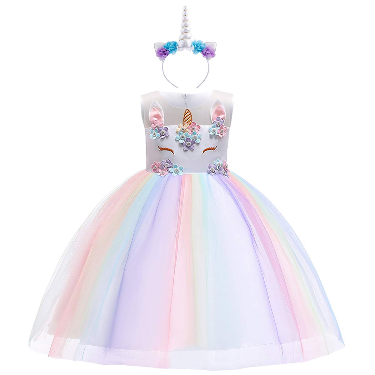 Baby Girls Flower Unicorn Fairy Costume Princess Rainbow Dress up Birthday Pageant Party Wedding Dance Outfits Short Gown S# White+Rainbow(2pcs) 6-7 Years