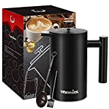 French Press Coffee Maker - 34 oz, Double-Wall 304 Stainless Steel Vacuum Insulated Tea Brewer Pot with 4 Level Filtration System - Extra 2pcs Filters Included - 8 Cup/1000ml