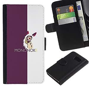 // PHONE CASE GIFT // Moda Estuche Funda de Cuero Billetera Tarjeta de crédito dinero bolsa Cubierta de proteccion Caso Samsung Galaxy S6 / Mononoke /