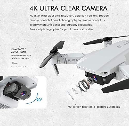 0BEST Drone avec Caméra 4k HD,Drone avec Deux caméra Professionnel, Positionnement du Flux Optique, WiFi Pliable FPV…