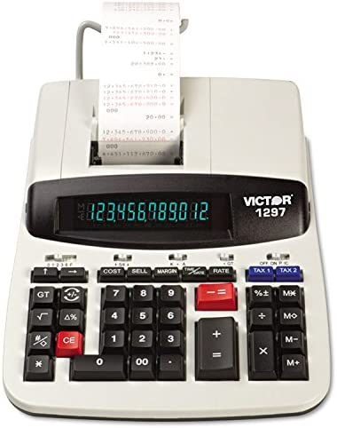1297 Two-Color Commercial Printing Calculator, 12-Digit LCD, Black/Red