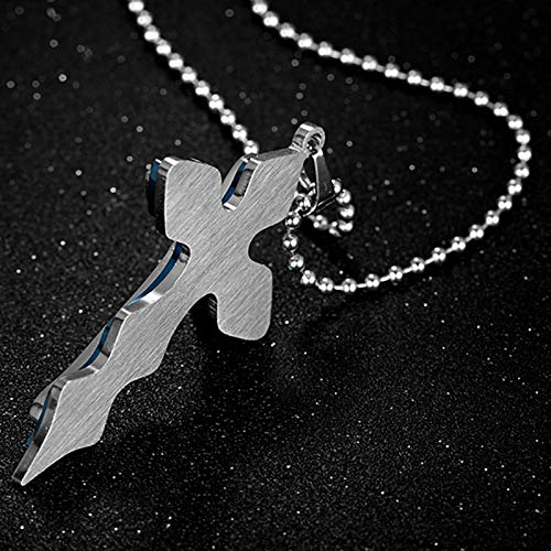 Main Stone Color: Blue Davitu Good Quality Pendant Necklaces Men Jewelry Silver Blue Stainless Steel Cross Pendant Free Necklace Chain Statement Jewelry