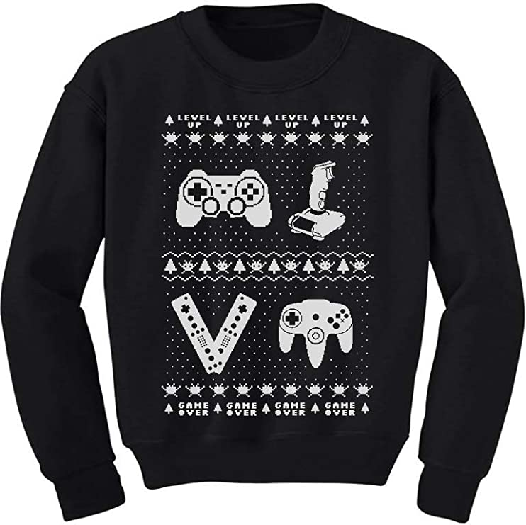 Details about  /Gamer Retro Ugly Christmas Sweater Xmas Party Youth Kids Long Sleeve T-Shirt
