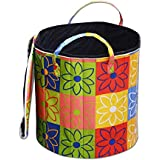 Inovamall,Non Woven Waterproof Round Shape Laundry Basket or Bag with Multicolor Design for Multipurpose,Foldable,Carry Handles,Hook & Loop Tape Lid for Home,Cloth|Sz:WxHxDia:35x38x102cm