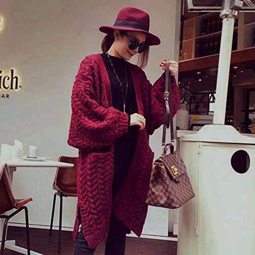 Modern Maglia Lunga Tasche Donna Donne Monocromo Confortevole Rot Casual A Manica Giacca Autunno Outwear Stile Anteriori Moda Maglioni Casuale Battercake Lunghi zHqx6wE8