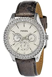 Fossil Women's ES2995 Stella Leather Pewter Watch