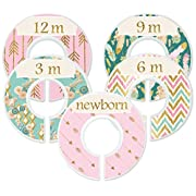 Mumsy Goose Nursery Closet Dividers, Closet Organizers, Baby Girl Clothes Dividers Pink Gold