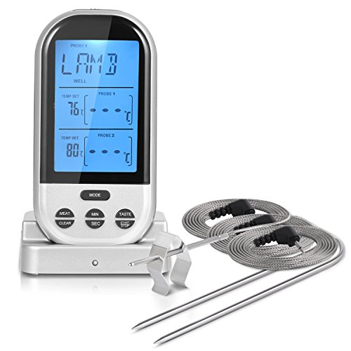 - iHomy Wireless Remote Digital Cooking Food Meat Thermometer with Food Safe Probes for Smoker Grill BBQ Thermometer