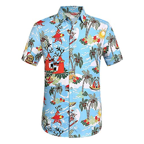 VEZAD Button Down Short Sleeve Shirt Men Casual Printed Hawaiian Top Blouse