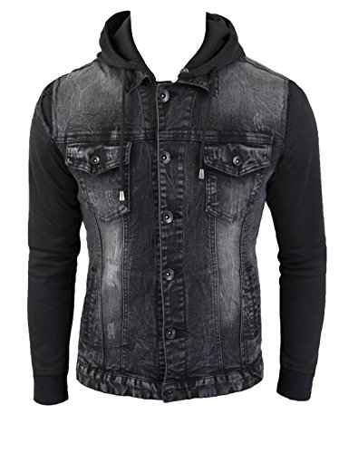 Giubbotto di jeans uomo nero denim casual giacca giubbino slim fit aderente