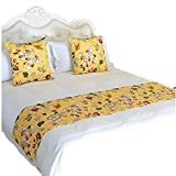 YIH Bed Runner Set of 2 Decorative Throw Pillow Cover, 70'' x 19'' Beautiful Luxurious Bed End Scarf for Bedroom Hotel