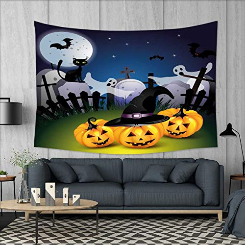 SKDSArts Halloween Tapestry Wall Hanging 3D Printing Funny Cartoon Design with Pumpkins Witches Hat Ghosts Graveyard Full Moon Cat Beach Throw Blanket 60