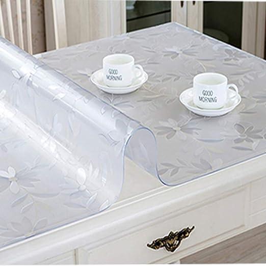 DGTY Mantel Mantel Transparente Rectángulo Cubierta de la Mesa Protector Almohadilla de Escritorio Suave de Vidrio Mesa de Comedor Tablero de Plástico Estera 100X160Cm Flor: Amazon.es: Jardín