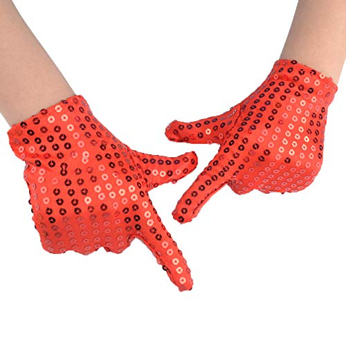 (JISEN Child Costume Dress up Dance Sequin Cosplay Party Halloween Gloves Age 3-7 Red)
