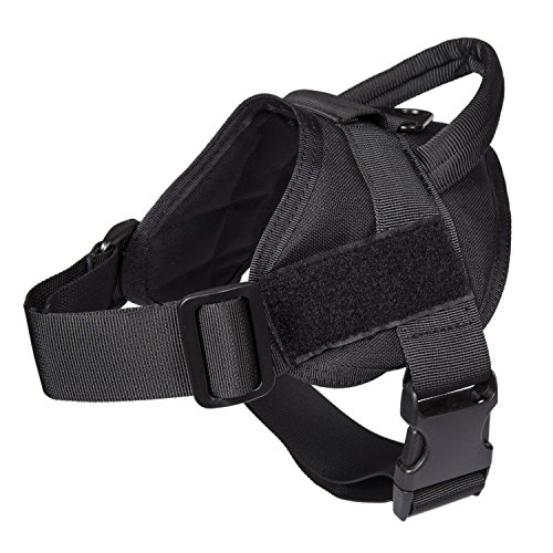 Pettom Durable Nylon Tactical Service Padded Dog Training Harness Vest with Adjustable Buckle (S, Black) - Dog Harness Embroidered