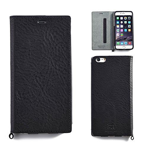 Hamee ursprüngliche Qualitäts-Galgano Leder Tagebuch-Hülle fürs iPhone 6 Plus von Badalassi Carlo (Black)