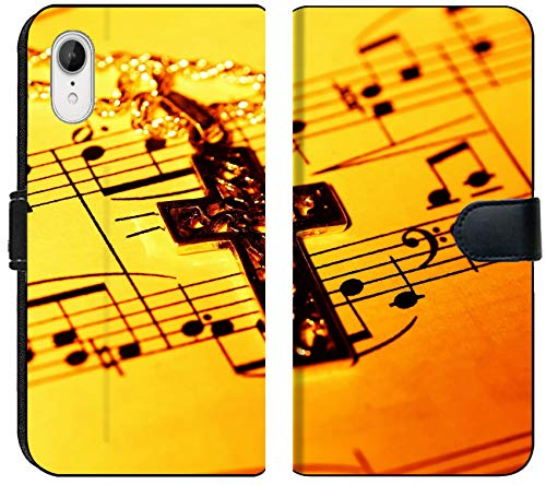 Liili Premium iPhone XR Flip Micro Fabric Wallet Case Crucifix and Sheet Music Image ID 279002