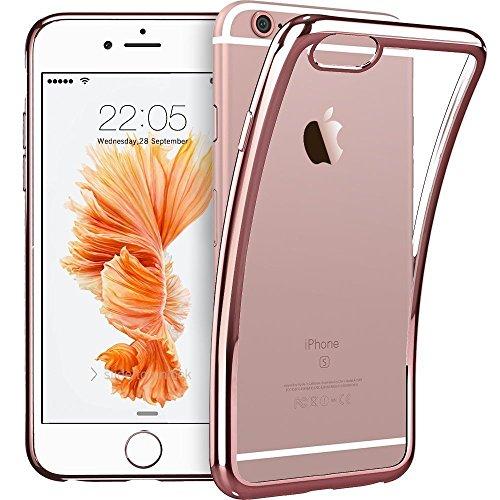 VSHOP ® Coque iPhone 6s, coque iPhone 6 / 6s [Rose Crystal] Coque arrière transparente + contour Rose