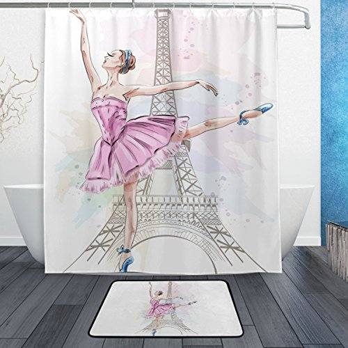 ALAZA Beautiful Ballerina Dancing On Eiffel Tower Polyster Shower Curtain Set Fabric Bathroom Curtain Suit with Mat Rug 12 Hooks