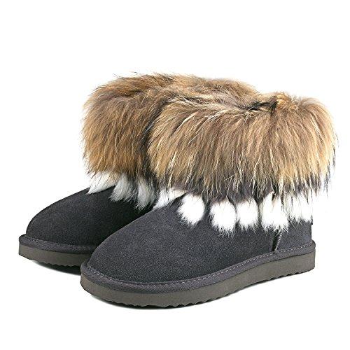 Ausland Chaussures Femme Courtes Fourrure Garnies Bottes 99258 Gris
