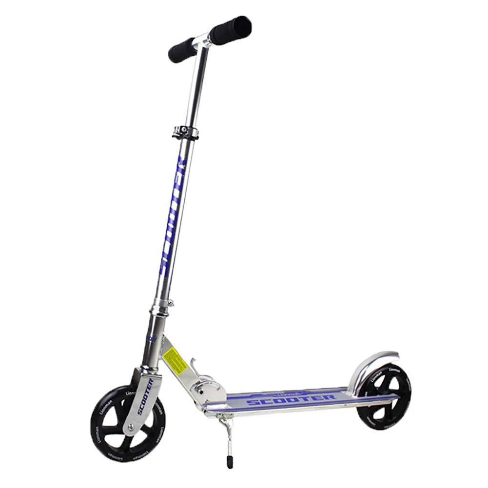 HH スクーター 子供と大人に適した折りたたみ式キックスクーター2輪付き折りたたみランドサーファースポーツアウトドア調節可能ハンドル (色 : 青) B07L5FKV8J  青