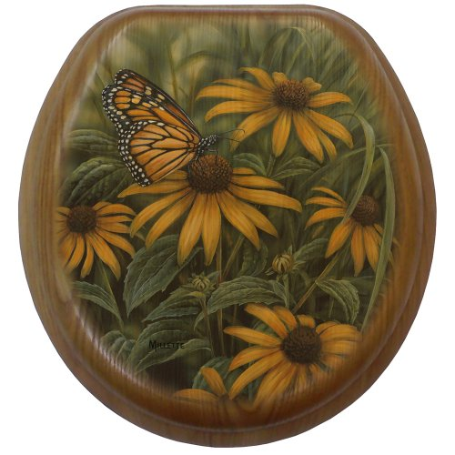 UPC 717510175806, Comfort Seats C1B2R1-721-17CH Monarch Butterfly Round Toilet Seat with Chrome Alloy Hinge, Oak