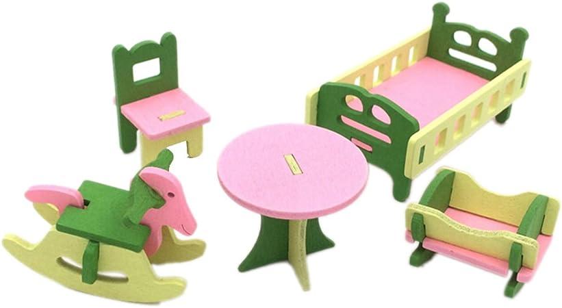 Retro Wooden Doll House Miniature Bathroom Furniture Set Kids Pretend Play Toy
