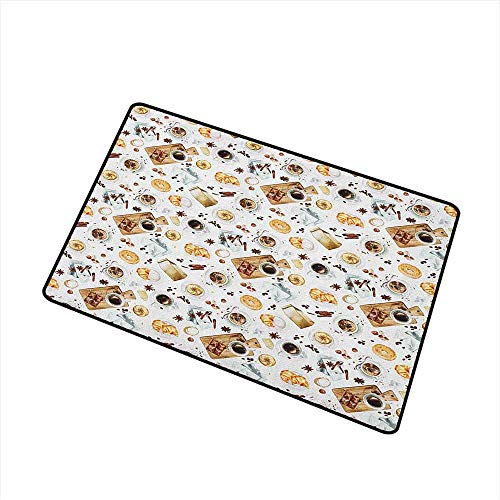 Doggie Bagels - Modern Non Slip Doormat Lunch Table with Croissant Bagels Coffee Cheese Chocolate Watercolor Artwork All Season Universal 16